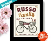 Personalized Wine Gift, Napa Valley, Wine Art, Wine Connoisseur, Unique Wine Gift Idea, Bicycle Art, Bar Decor, Vineyards, French Wines