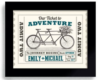 Wedding Decor 11x14 Art Print Personalized Wedding Gift Tandem Bicycle Adventure Awaits Gift for Couples Engagement Gifts Romantic Gift