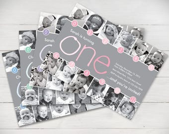Timeline Light Ombre 1st Birthday Invitation (Boy or Girl) - Digital File
