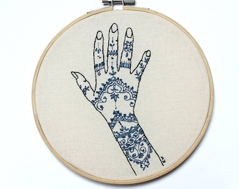 "Embroidery Art ""Blue Henna Hand"""