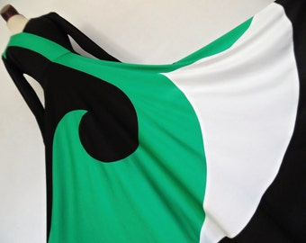 SALE :) FRANCE . Op Art Wave . Exceptional Bold Bright Abstract Structured Print Maxi Dress 70s S Black Green White