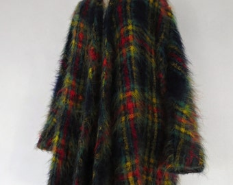 SALE :) JEAN MUIR . The Forest Walk . ShowStopping Mohair Rainbow Checks Tartan Super Fluffy Fuzzy Hairy Colorful One Size Osfa Plus Size 2x