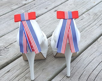 American Flag Shoe Clips, Armed Forces SHoe Clips, Red White Blue, Bow Shoe Clips, Shoe CLips Army, Navy, Marines, American Shoe Clips