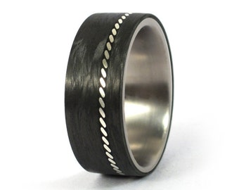 Men's titanium ring with silver and carbon fiber inlay. Unique wedding band. Water resistant, very durable and hypoallergenic. (01601_8N)