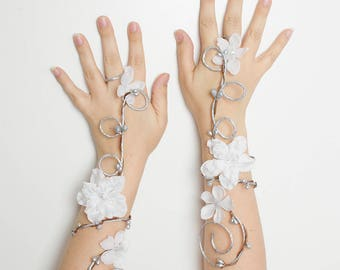 Set of 2 silver and white elven arm cuffs