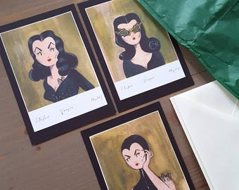 Set of 3, Mini Vampira Prints, A6, With Envelopes.