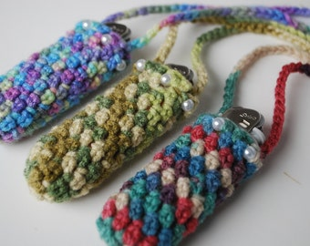 Set of 3 Lighter cozy holder necklace - lighter case - colorful crochet lighter