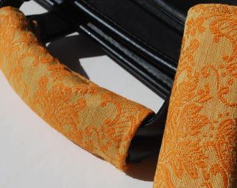 Luggage Handle Wrap Set of 2, Orange paisley patterned