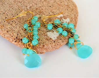 Dangly Aqua Bead Earrings, Gold Plated Earhooks, Clip Ons Available, Gift Boxed