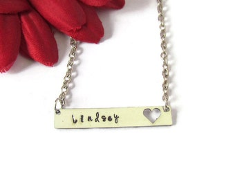 Personalized bar Necklace- Name necklace -1st Communion Necklace-Baptism -girls necklace - Confirmation - heart necklace - gift box included