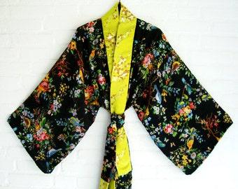 Kimono Black Spring Flowers Birds Elegant  Chic Long Wrap Dress Beach Kimono Lingerie kimono