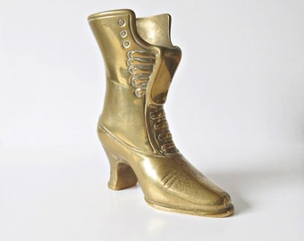 Vintage Brass Boot - Victorian Style - Paperweight - Pen Holder - Small Posy Vase - Crochet Hook Holder - Door Stop