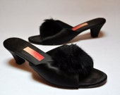 RESERVED 60s Vintage Slip On Black Satin Mules Fluffy Peep Toe Heels Burlesque Pinup Heels