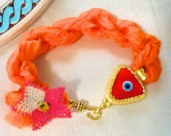 Silk amulet evil eye bracelet , Turkish bracelet , amulet bracelet , ethnic bracelet , nomad bracelet , bohemian bracelet