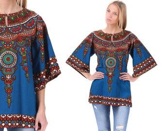 DASHIKI 70s Shirt Tunic Top Ethnic BELL SLEEVE Blouse Blue 1970s Hippie Boho Cotton African Bohemian Vintage Cotton Medium