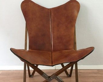 Tripolina Butterfly Chair - Premium Leather and Wood Folding Frame Chairs
