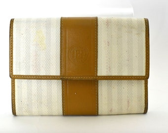 Vintage FENDI Wallet - Tan Striped Authentic Leather & Canvas