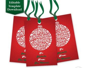 Christmas Gift tags, Holiday Gift Tags, Christmas Tags, Hang Tags - Printable EDITABLE INSTANT DOWNLOAD - Ornament