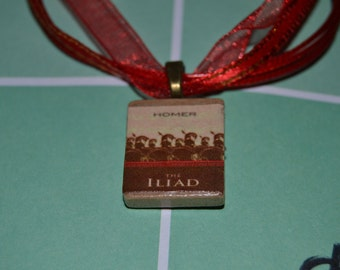Book charm necklace: Iliad by Homer