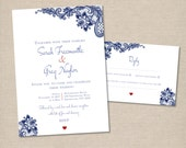 Wedding invitation set, Navy Blue Lace White Invitation, RSVP reply card, Engagement, Vintage, Rustic and Romantic, Printable digital file.