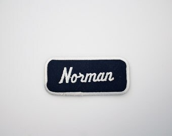 Vintage Embroidered Name Patch - NORMAN Sew On Patch - Factory Patch - Bowling Shirt Patch