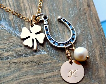 Gold and silver horseshoe necklace Clover necklace Personalized horseshoe necklace Lucky shamrock necklace Freshwater pearl initial jewelry