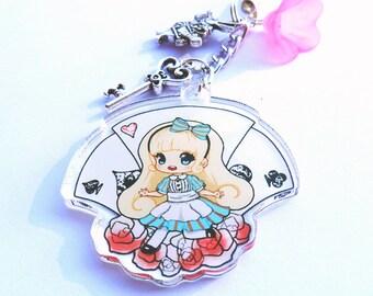 Alice in Wonderland clear acrylic charm