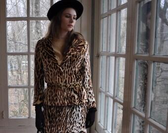 Leopard Skin Print Velvet Bill Blass Skirt Suit/Vintage 1960s/Formal Cocktail Party Skirt Suit