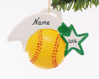 Soft ball ornament - Christmas softball ornament - Green Team Color - Sports ornament - personalized softball Christmas ornament (9)