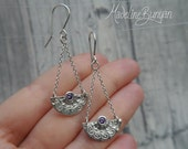 RESERVED - balance - Chandelier earrings with purple cubic zirconia, handmade, fine silver, sterling silver