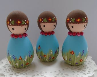 NEW*** Hand Painted Wooden Peg Doll -  Garden Theme