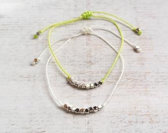 Boho Beach Bracelet with Silver Beads