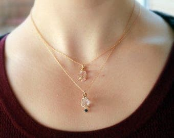 14kt Yellow Gold Herkimer Diamond and Blue Sapphire Necklace, Prong set, recycled gold