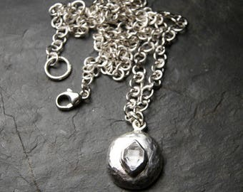 Herkimer Diamond and Sterling Silver Stone Necklace | sterling silver pebble, wide chain