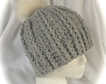 Chunky Gray Hat with Large Faux Fur Pompom - Teen - Small Adult Crocheted Ready to Ship ~  Gray Ridged Crocheted Winter Hat with PomPom