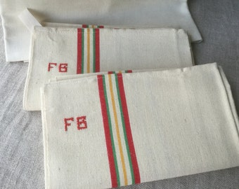 1 large Dish Towel French Vintage Linen and Cotton towels Red stripes FG