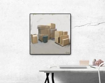 Boxes-art print, oil on canvas, wall decor, modern, contemporary,digital print