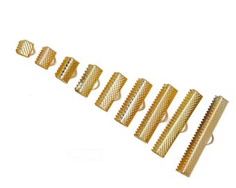 180 End Caps - Gold Plated - Textured Crimp Ends - 35x8mm to 6x8mm - Assorted Sizes - Ships IMMEDIATELY  from California - F410