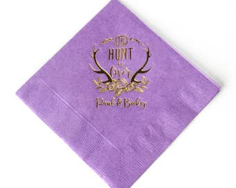 100 Custom Wedding Napkin - The Hunt is Over - 100 3 Ply Cocktail Napkin