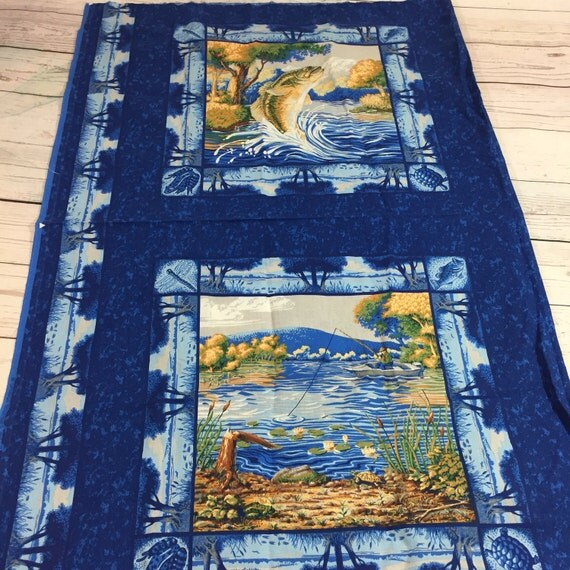 Fishing panel pillow quilt fabric fisherman cabin decor for Fishing themed fabric