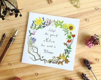 Nature Wreath Greeting Card with Inspirational Quote, Blank Greeting Card