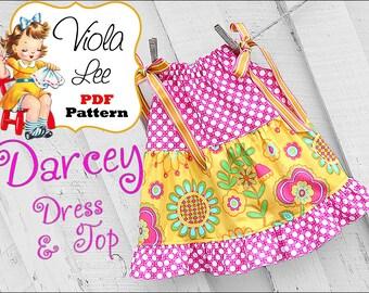 Darcey... Pillowcase Dress Pattern & Pillowcase Top Pattern. Baby Dress pattern. Girl's Dress Pattern. pdf Sewing Pattern. Toddler Dresses