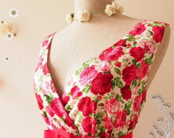 Flash Sale CLEARANCE - My Romantic Floral Dress Vintage Inspired Dress Red Floral Tea Dress Floral Bridesmaid Dress Red Rose Dress Red Te...