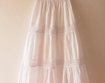 Maxi Skirt White Wedding Skirt Boho Chic Bohemian Skirt Beach Long Skirt White Summer Skirt  - No.2