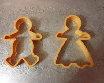 Lot of 2 GINGERBREAD COOKIE CUTTERS Boy Girl
