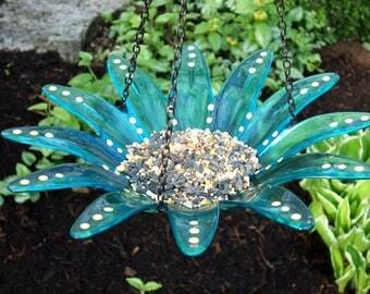 LARGE LIGHT BLUE Hanging Bird Feeder Bird Bath, Recycled Glass
