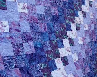 Batik Patchwork Quilt, Purple Rain, Queen / King Size Handmade by PingWynny