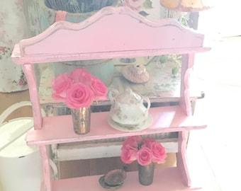 Vintage shelf  Chippy  shabby chic pale pink shelf shabby chic cottage chic