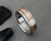 Rose Gold and Titanium Ring, Wood Grain Sequoia, 18k Yellow Rose or White Gold, Titanium Wedding Band, Mens Ring, Womens Ring, Titanium Wood