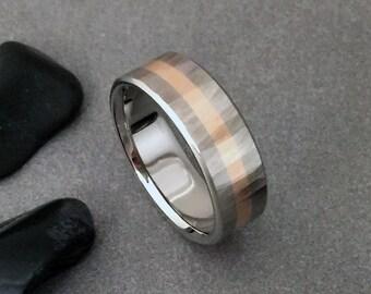 Rose Gold and Titanium Ring, Wood Grain Sequoia, 18k Yellow Rose or White Gold, Titanium Wedding Band, Mens Ring, Womens Ring, Titanium Wood